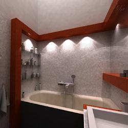 Üvegmozaikkal burkolt fürdőszoba számítógépes látványterve